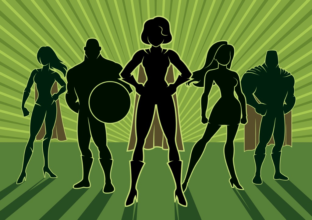 Superhero Team with Capes Graphic